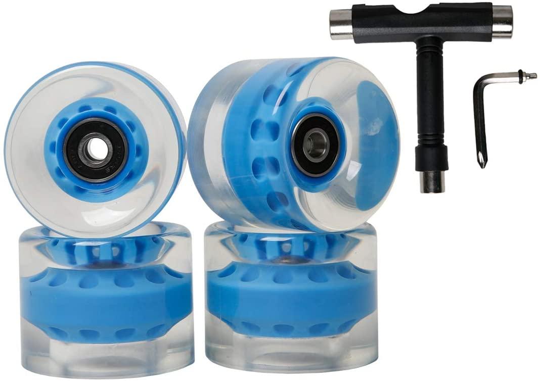 FREEDARE Skateboard Wheels with Bearings 60mm Wheels Skateboard Tool All-in-one T Tool Set(Blue)