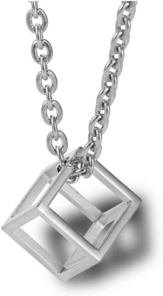 Simple Three-Dimensional Hollow Square Titanium Steel Pendant Necklace Fashion Couple Jewelry Silver