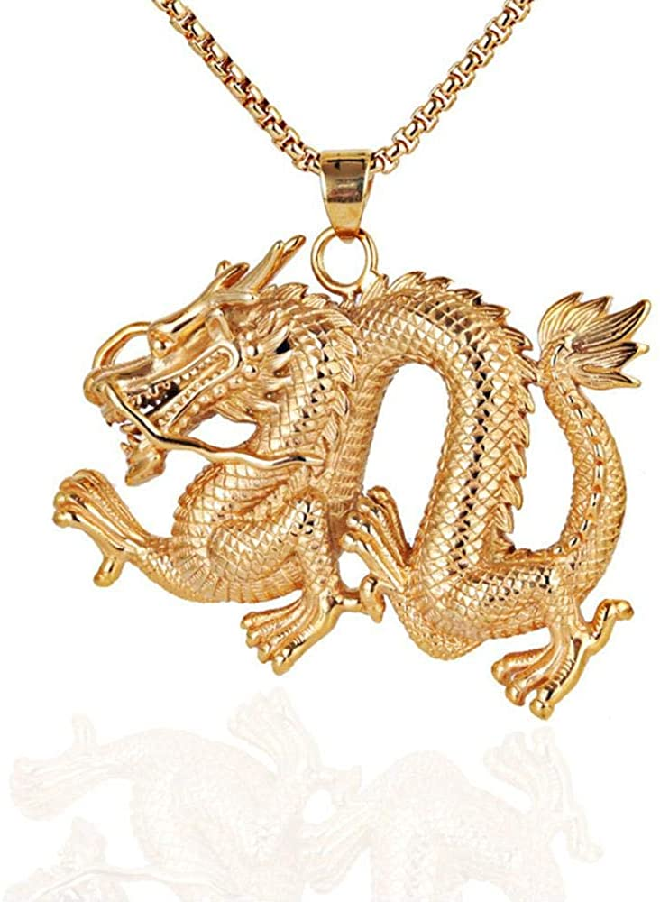 WUliuqi Men's Zodiac Dragon Necklace Stainless Steel Long Christmas Pendant Pendant Domineering Hip Hop Street Costume Decoration