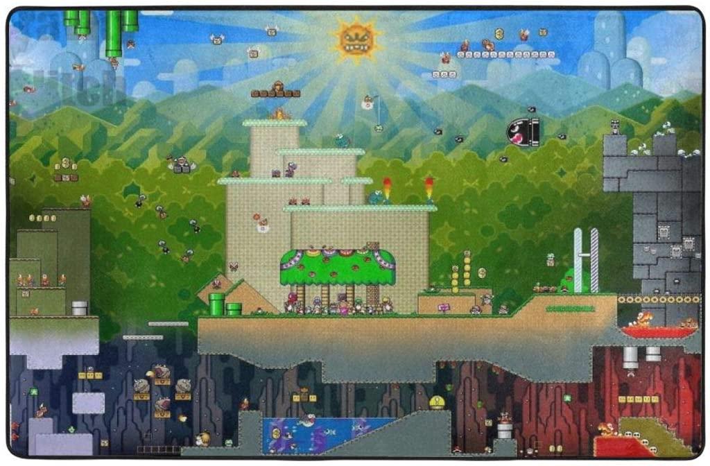 Super Mario Super Soft Area Carpet Kids Living Room Boys Girls Room Area Rug Nursery Home Decor Carpet 60 X 39 Inches