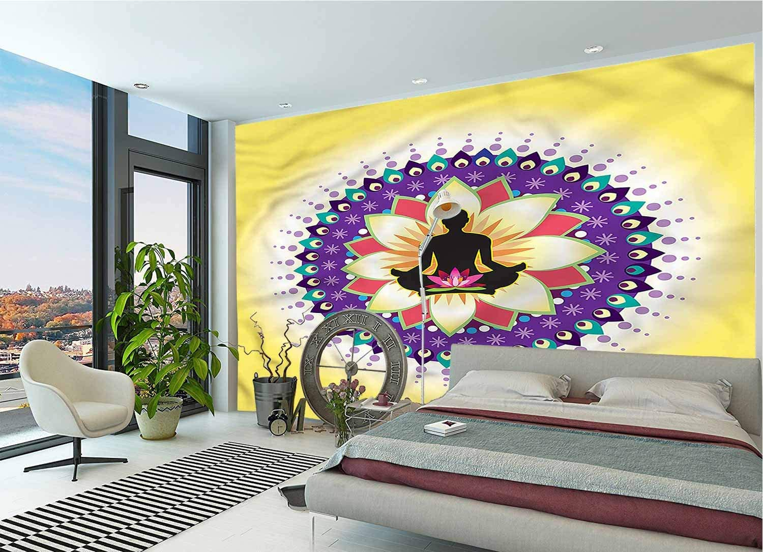 LCGGDB 3D Print Wall Mural Decal,Round Circle Lotus Icon Peel and Stick Self-Adhesive Wallpaper for Livingroom Bedroom Nursery School Family Wall Decals-144x100 Inch