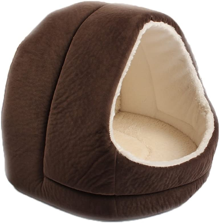 Wei Zhe- Brown, Khaki cat Litter Kennel cave Comfortable Sleeping Bag Bed with Anti-Slip mat Four Seasons Universal pet Bed wash