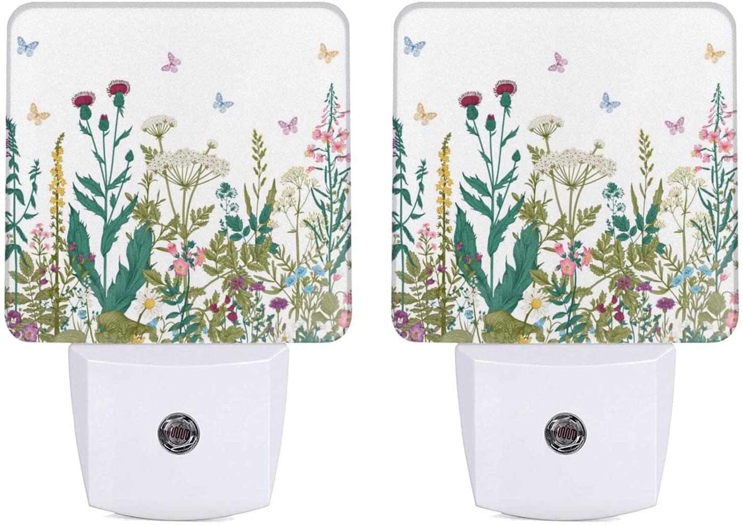 2 PCS Night Light Vintage Floral Night Light Lamp Plug-in LED Nightlights Flower Auto Dusk-to-Dawn Sensor Lamp for Bedroom Bathroom Kitchen Hallway Stairs