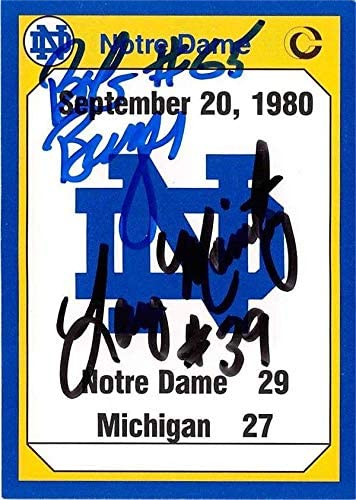 September 20 1980 University of Notre Dame Fighting Irish autographed football card Larry Moriarty Bob Burger 1990 College #189 - NFL Autographed Football Cards