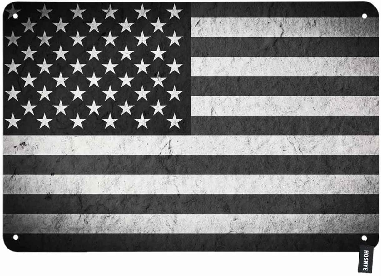 HOSNYE American Flag Tin Sign Black and White Backdrop with Stars and Stripes Vintage Metal Tin Signs for Men Women Wall Art Decor for Home Bars Clubs Cafes 8x12 Inch