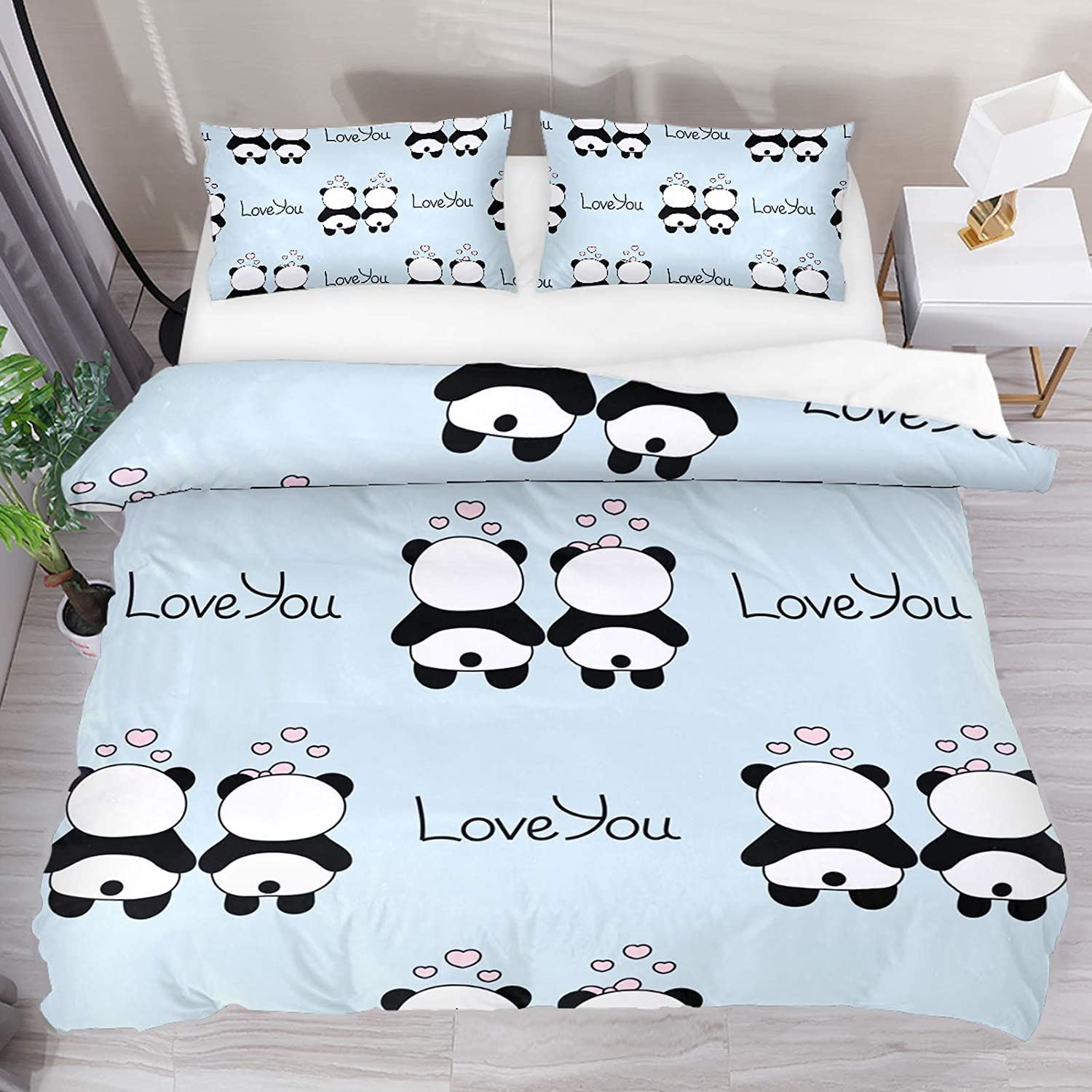 HEOEH Cute Pandas in Love Pattern Bedding Duvet Cover 3 Piece Set - Ultra Soft Double Microfiber Comforter Cover with Zipper Closure and 2 Pillow Sham, King (No Comforter)
