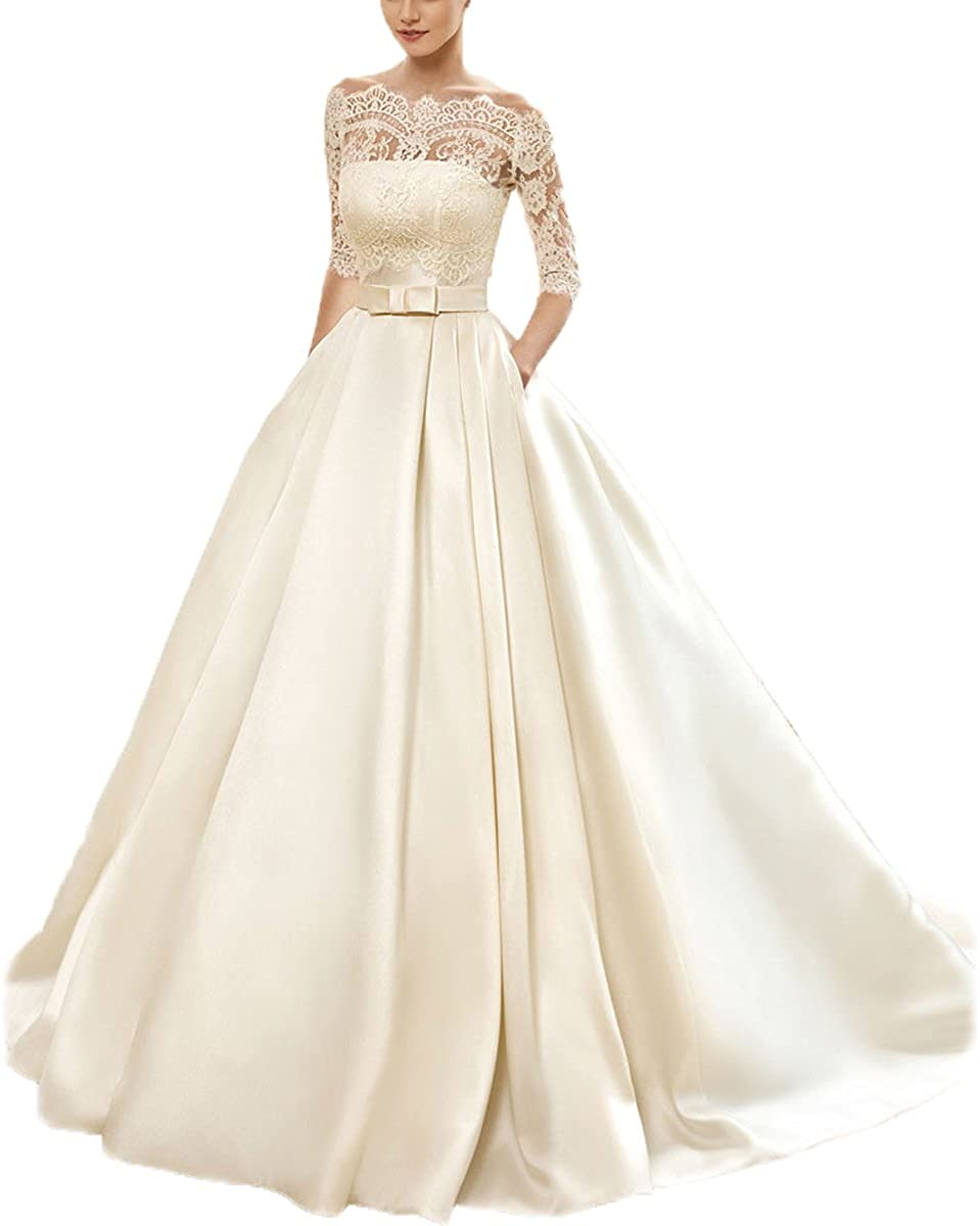 Kayle Women's Lace Wedding Dress with 3/4 Sleeves Lace Jacket Satin Bridal Gowns