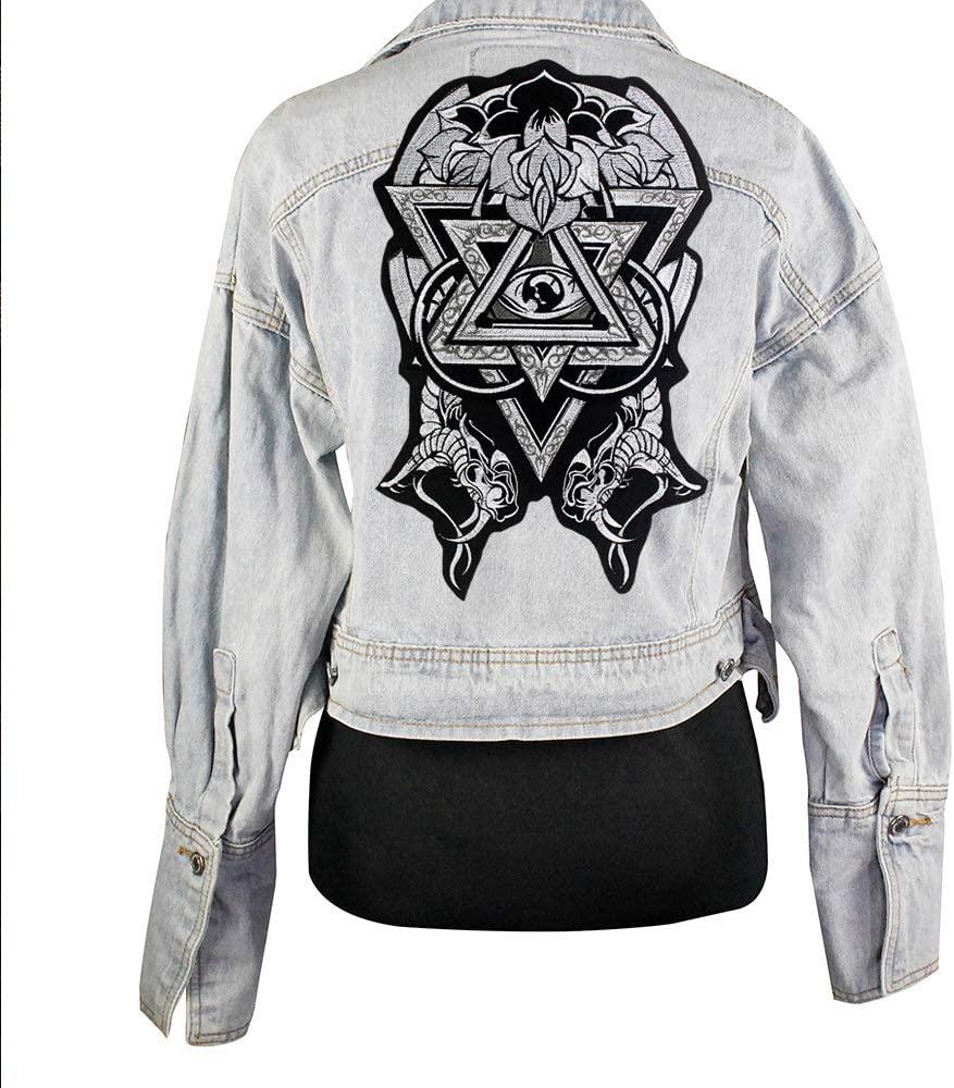 Fashion Punk Eye Skeleton Flower Biker Vest Embroidered Patch Iron On/sew on Full Back of Jacket Shirt Motorcyle Patches