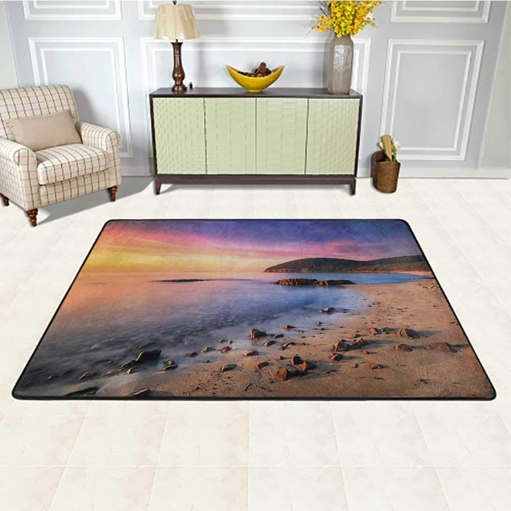 Beach Chair Mats for Carpeted Floors 5' x 7', Famous Mediterranean Sun Rise on The Beach with Pebbles Tourism Serene View Print Soft Mat Decorative Carpet, Multicolor