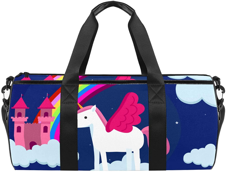 Sport Duffel Bag Cute Unicorn (41) Gym Bag Kids Swimming Bag Weekend Bag