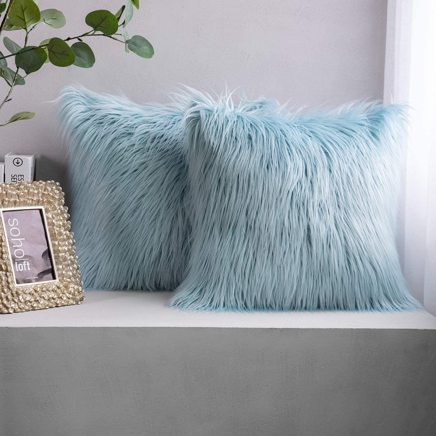 Phantoscope Pack of 2 Faux Fur Pillow Covers Throw Pillows Cases, Luxury Series Plush Cushion Case Mongolian Style, Light Blue 18 x 18 inches 45 x 45 cm