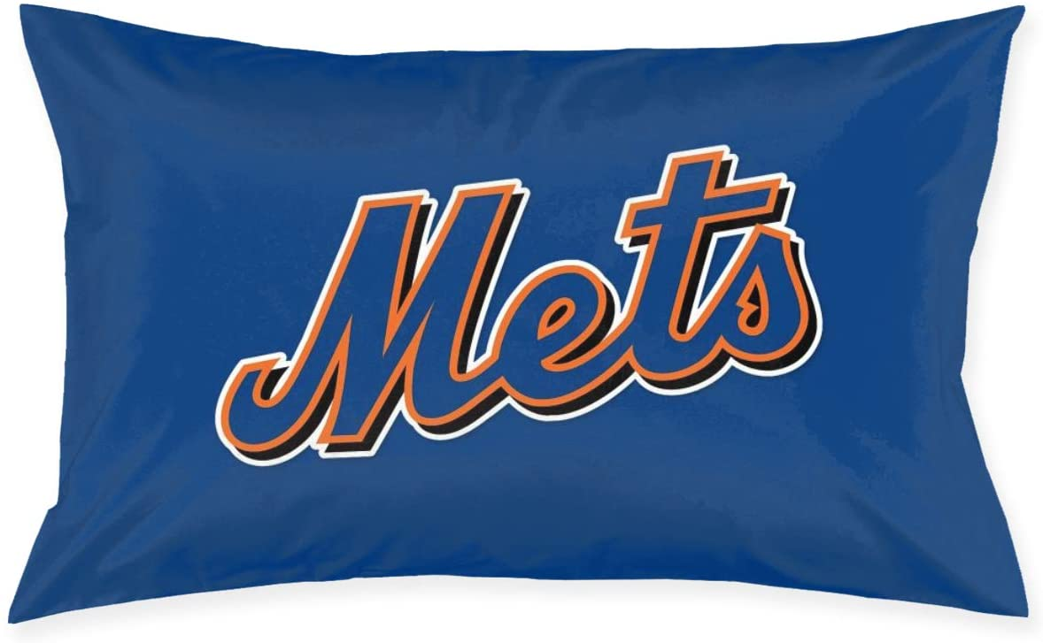 Franklin Sports New York Mets Pillowcase with Hidden Zipper 1 Pack Queen Size Pillow Case for Sleeping Or Living Room Decoration