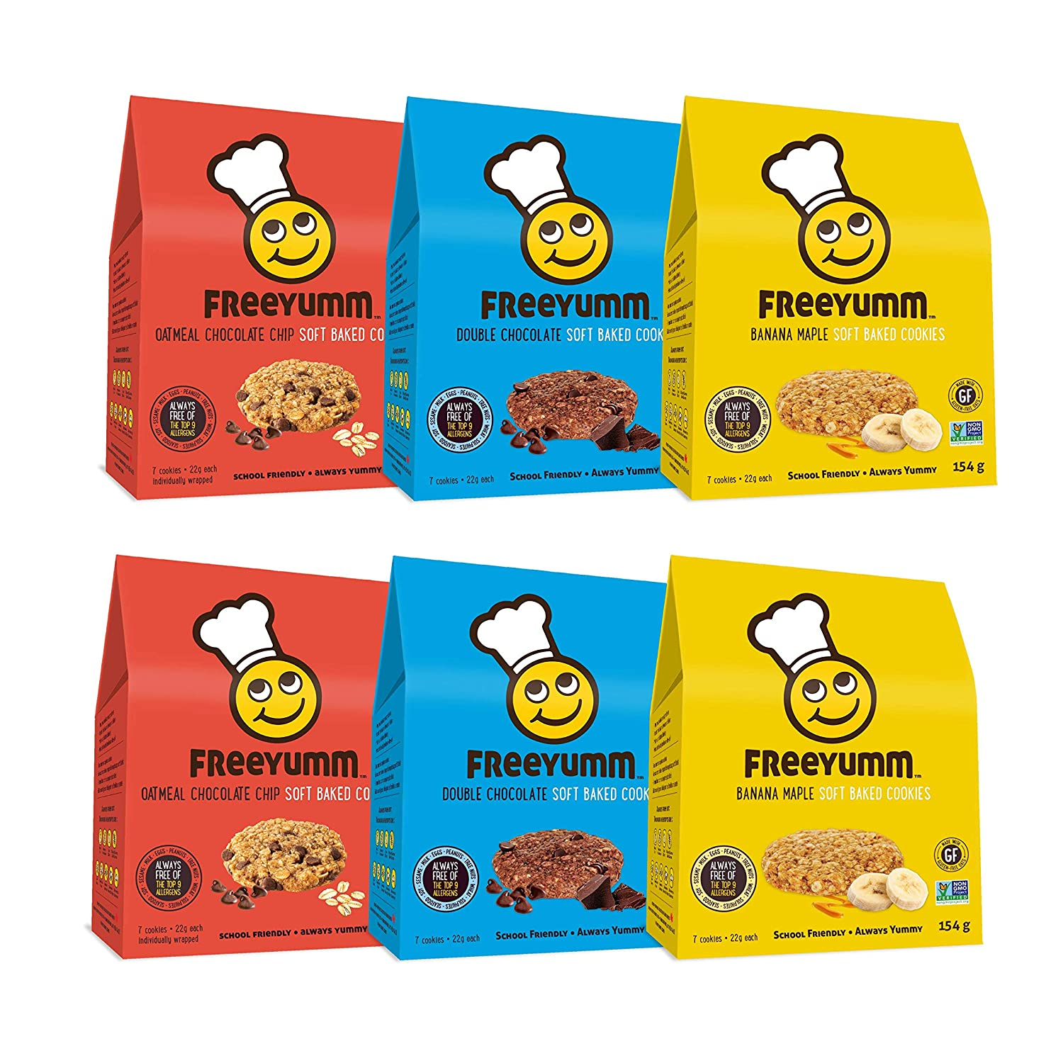 FreeYumm Soft Baked Cookies Variety Pack - Double Chocolate, Oatmeal Chocolate Chip, & Banana Maple - 42 Individually Wrapped Cookies - Allergen Free - Gluten Free - School Friendly