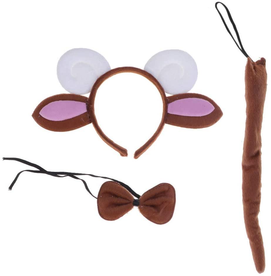 Holibanna 3pcs Animal halloween costumes for kids sheep costume ears headband bowtie tail
