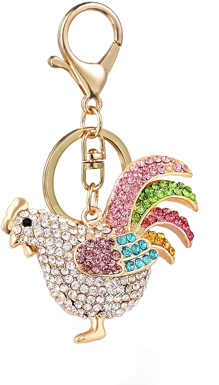 Axmerdal Chicken Cock Rooster Crystal Rhinestone Keyring Car Handbag Pendant Charm Pompom Key Chain Gift (Colorful)