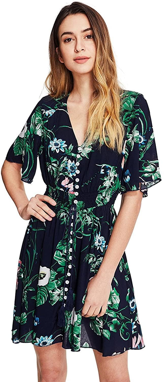 Milumia Women's Boho Button Up Split Floral Print Flowy Party Dress Green Large