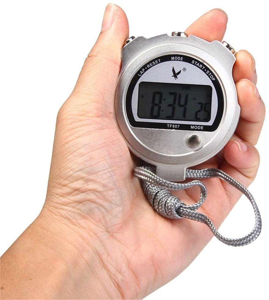 Biscount Durable Watch for Coaching Lap Mode TF807 Portable Handheld LCD Digital Chronograph Timer Metal Stopwatch Sport timer with Lanyard