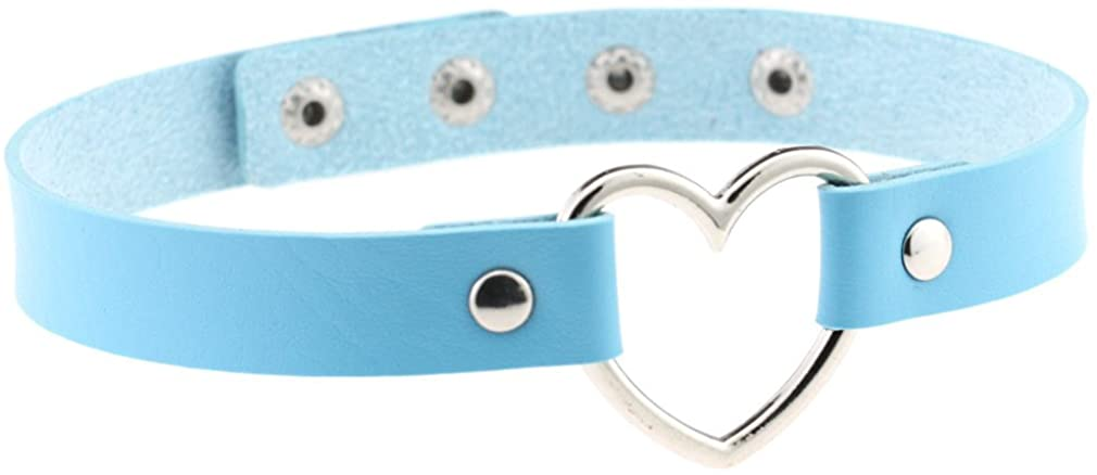 FM FM42 Multicolor Heart Ring PU Simulated Leather Collar Choker Necklace 17.72