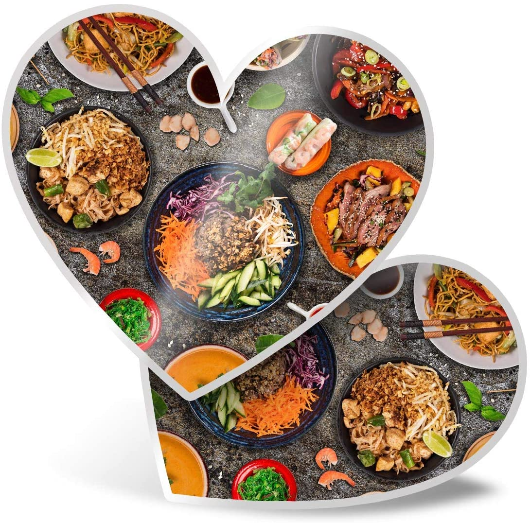 Awesome 2 x Heart Stickers 7.5 cm - Tasty Thai Food Chef Travel Fun Decals for Laptops,Tablets,Luggage,Scrap Booking,Fridges,Cool Gift #2658