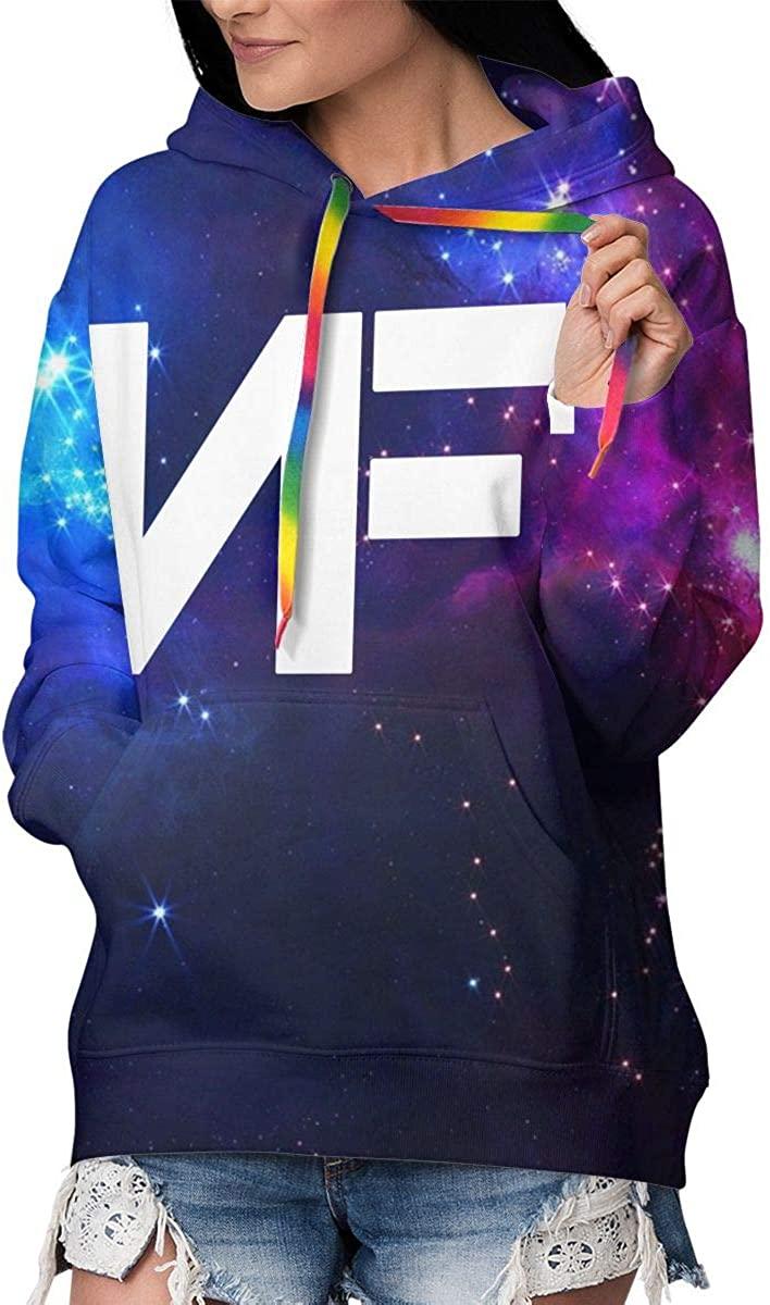 Women's NF Logo Novelty Fleece Hoodie 3D Digital Print Seatshirts Pockets Pullover