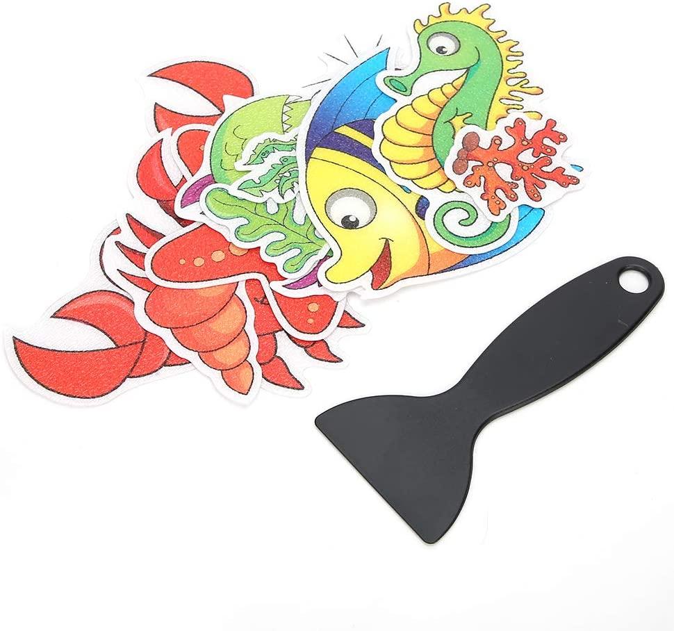 Zerone Anti-Slip Sticker, Cartoon Animal Cute Bathroom Anti-Slip Sticker Waterproof Bathtub Stairs Sticker for Safety