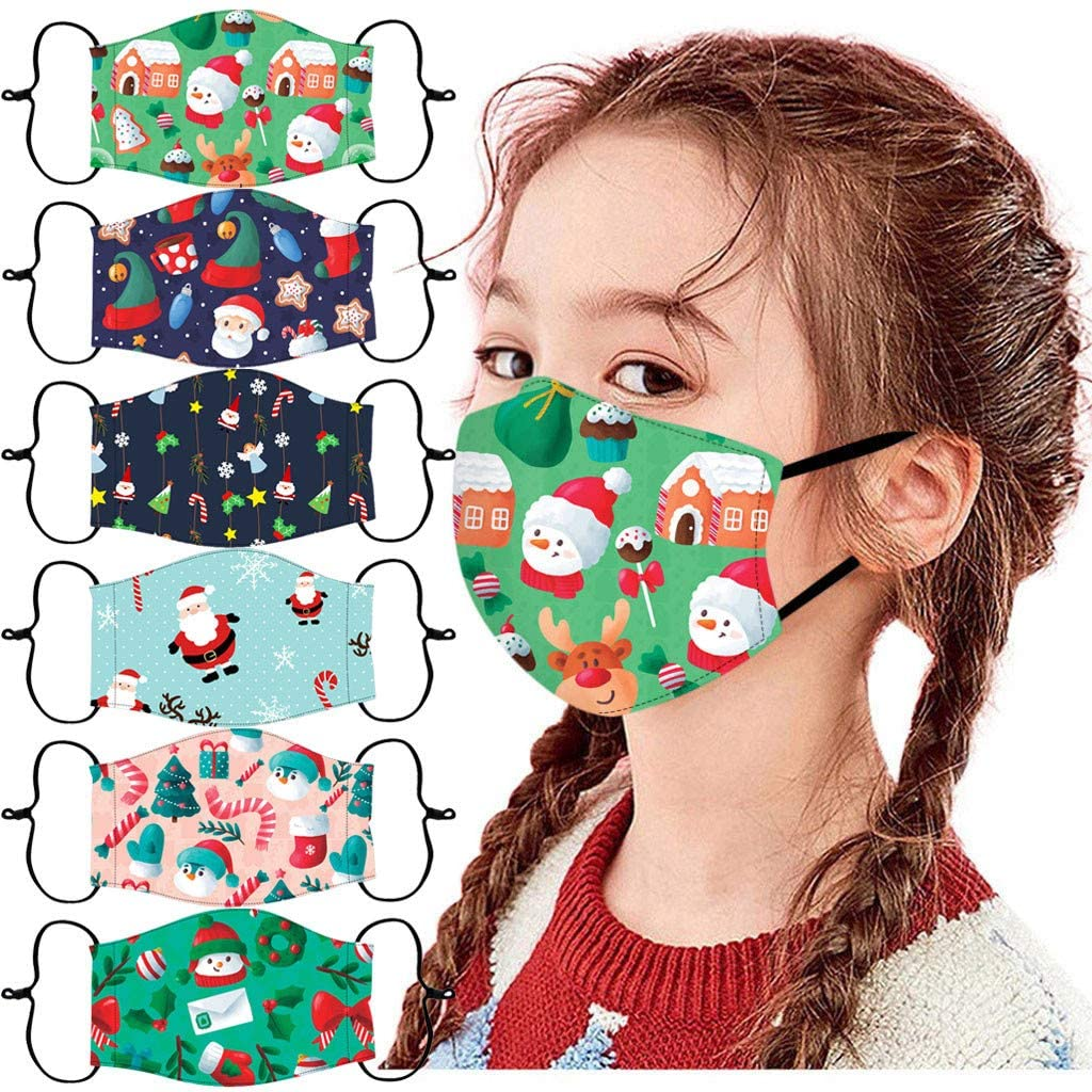 Veki 6PCS Children Comfortable and Breathable Polyester Christmas Printed Face Guards for Boys and Girls, at School or Play Outdoors