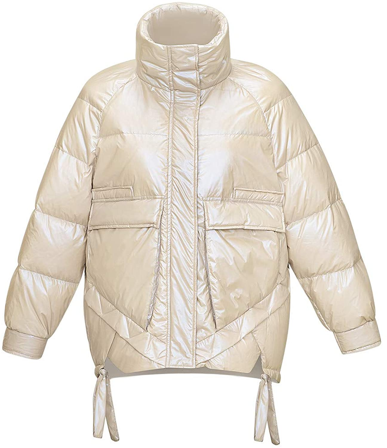 KISSQIQI Womens Thickened Duck Down Warm Parka Water-Resistant Jacket Coat Lightweight Outdoor Winter Outerwear