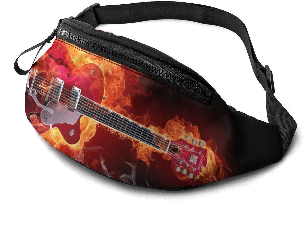 Dujiea Fanny Pack, Fire Guitar Waist Bag with Headphone Hole Belt Bag Adjustable Sling Pocket Fashion Hip Bum Bag for Women Men Kids Outdoors Casual Travelling Hiking Cycling