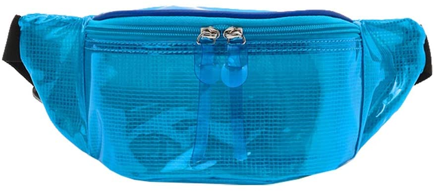 FENICAL Fanny Packs Transparent Multi-Function Waist Bag for Sport Outdoor Running(Blue)