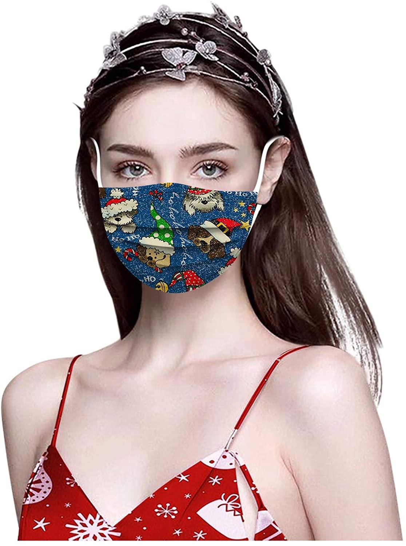 100pcs Disposable Christmas Print Face_Mask Breathable 3 Ply Elastic Earloops Bandanas Face Health Protection