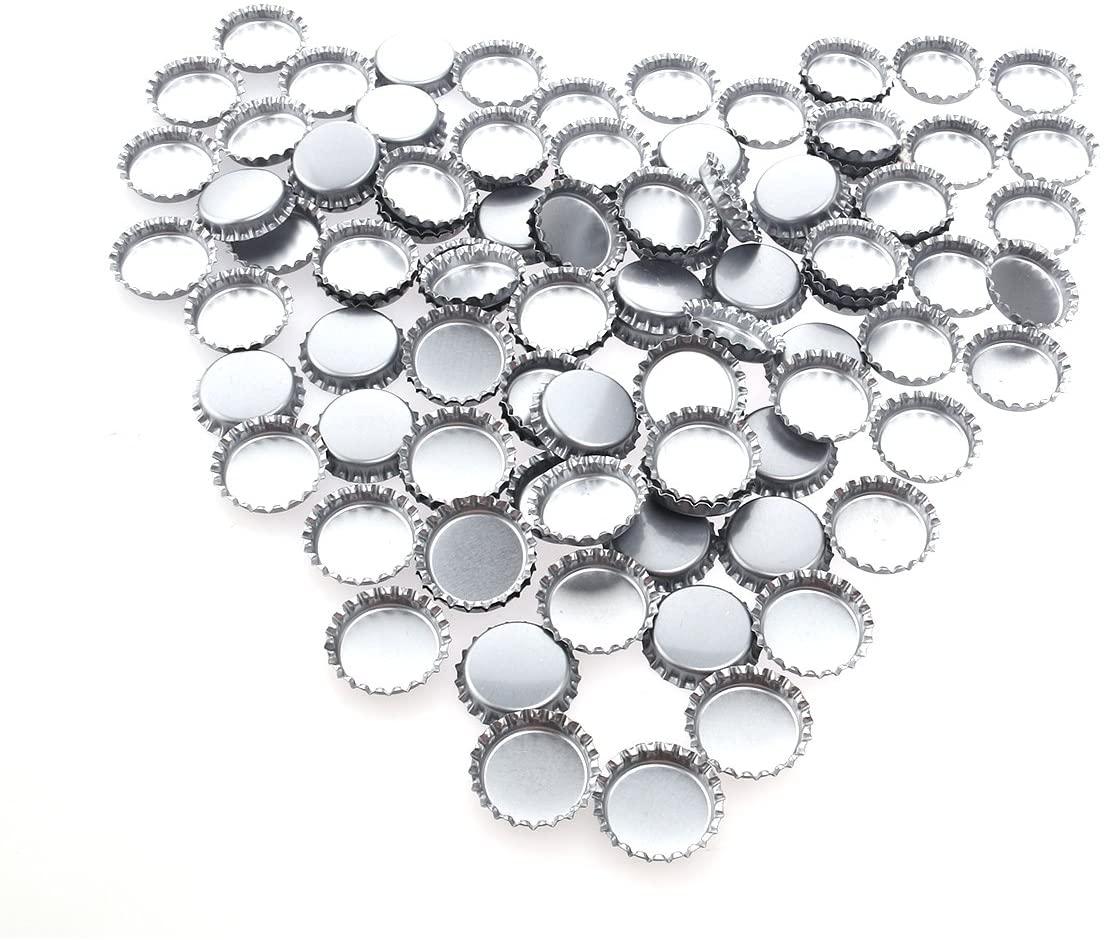 NUOLUX Silver Flattened Bottle Caps DIY Crafts 1-inch - 100pcs