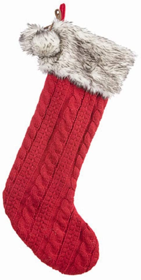 Darice®Cable-Knit Christmas Stocking: Red, 7.5 x 23 inches
