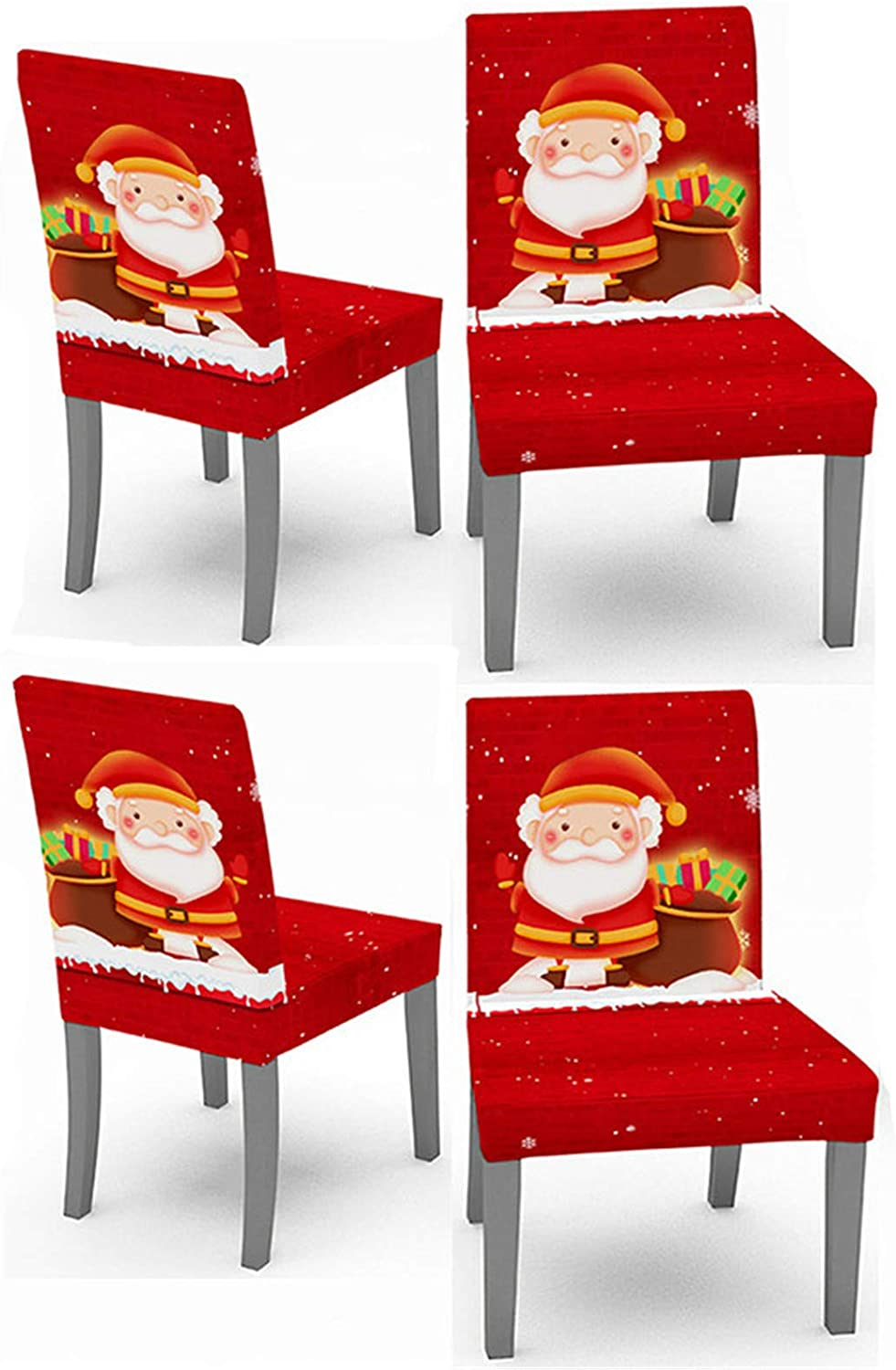 Crafttable 4pcs Stretch Dining Chair Slipcovers, Christmas Printed Chair Cover Seat Slipcover for Kitchen Home Hotel, 06
