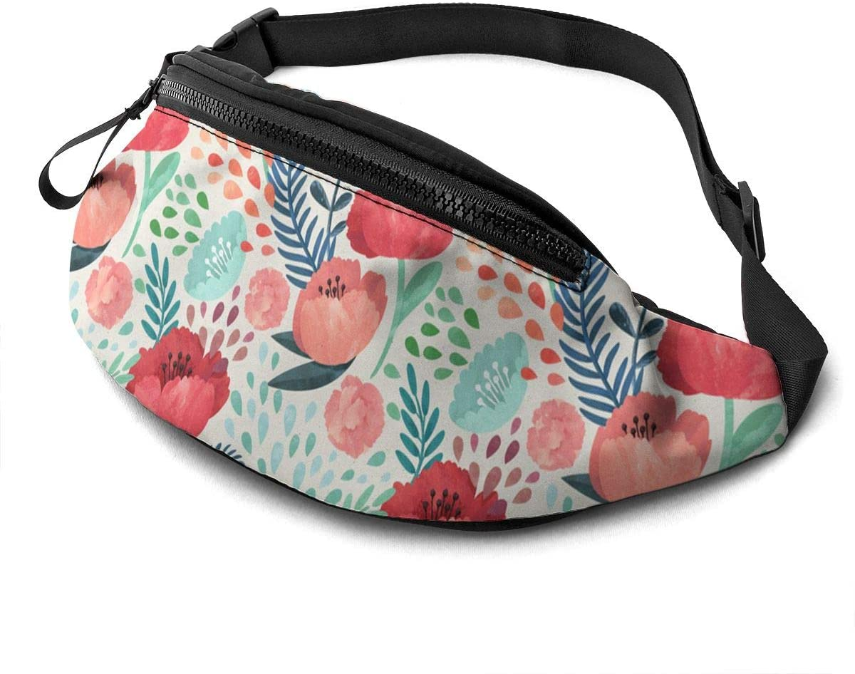Dujiea Fanny Pack, Seamless Hand Illustrated Floral Waist Bag with Headphone Hole Belt Bag Adjustable Sling Pocket Fashion Hip Bum Bag for Women Men Kids Outdoors Casual Travelling Hiking Cycling