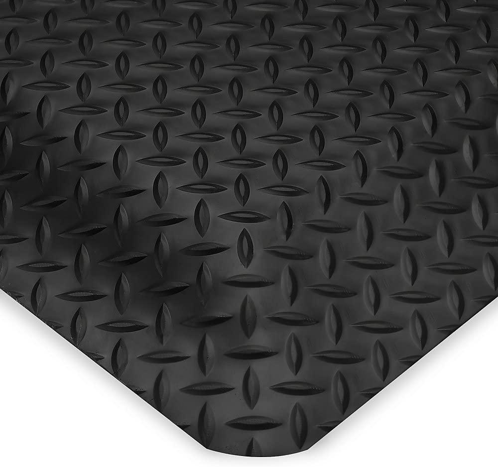 Wearwell Diamond-Plate Spongecote Mat - 3X5 - Black - Black - 3x5