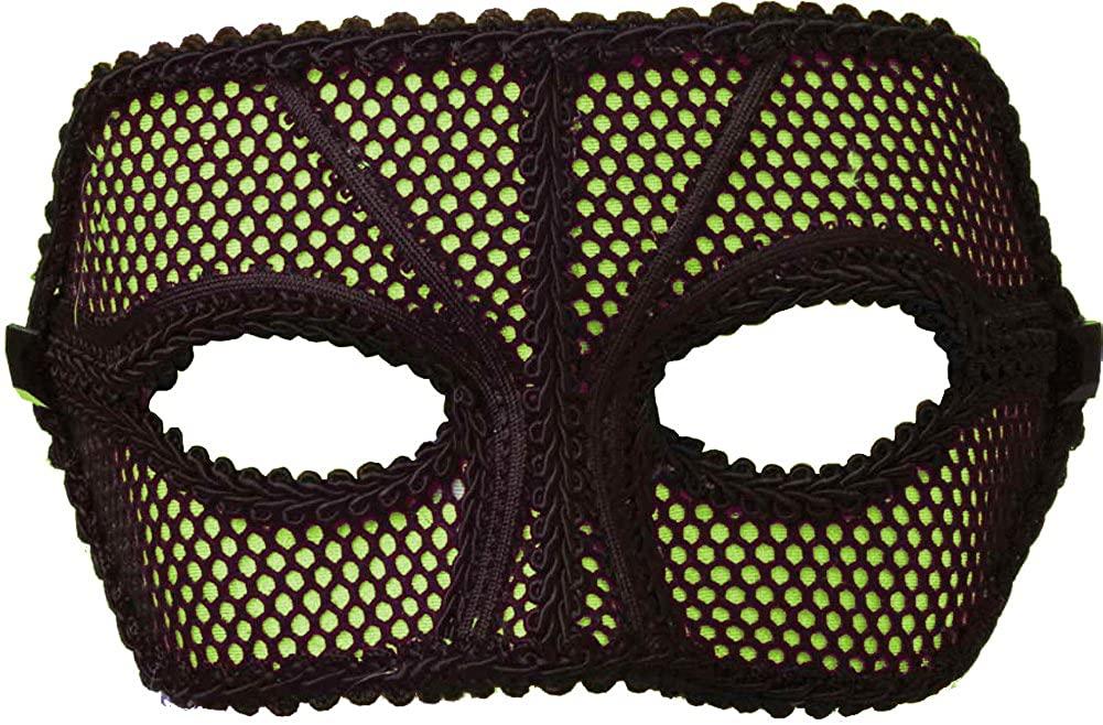 Forum Mardi Gras Costume Masquerade 1980's Half Mask Neon Fishnet