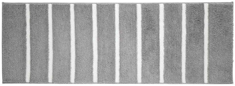 mDesign Soft Microfiber Polyester Non-Slip Extra-Long Stripe Spa Mat/Runner, Plush Water Absorbent Accent Rug for Bathroom Vanity, Bathtub/Shower, Machine Washable - 60