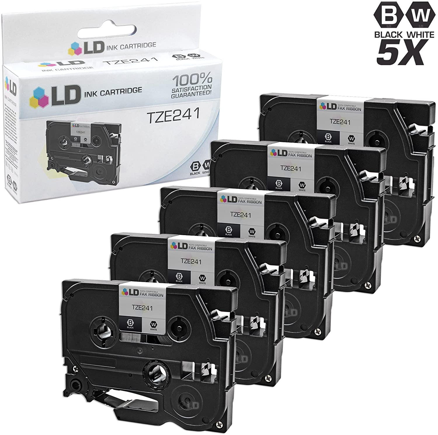LD Compatible Laminated Tape Cartridge Replacement for Brother TZe241 0.7 in x 26.2 ft (Black on White, 5-Pack)