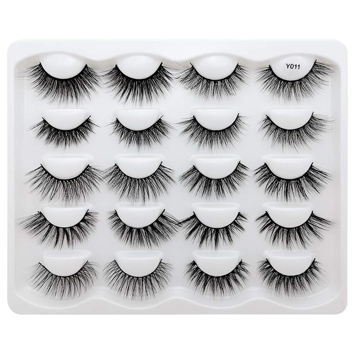 Vayator 10 Pairs /10 Different Styles Mixed 3D Soft Mink False Eyelashes Handmade Wispy Fluffy Long Lashes Natural Eye Extension Makeup Kit (Y011)