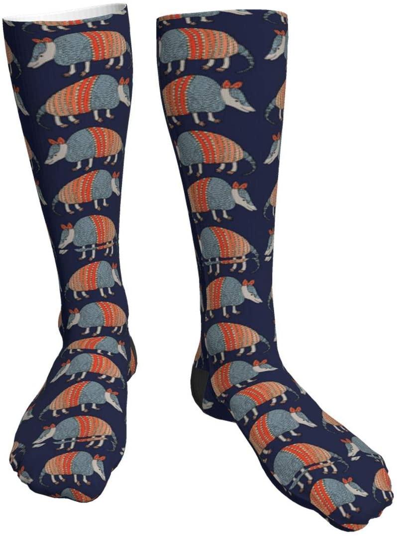 antcreptson Armadillo Pattern Mens/Womens Comfortable Casual Funny Long Knee High Socks Compression Socks Winter Warm Soccer Socks