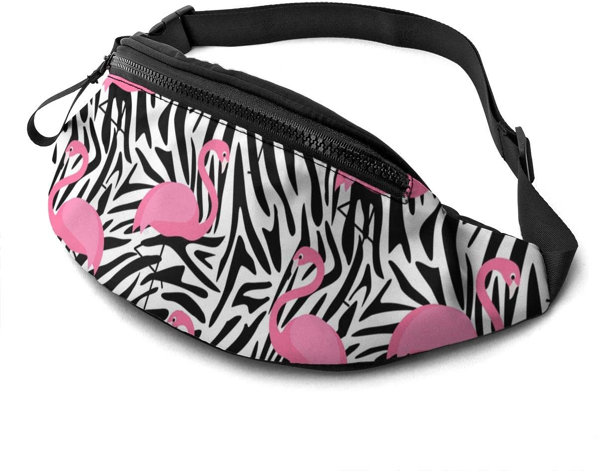 Dujiea Fanny Pack, Tropical Zebra Stripe Flamingo Waist Bag with Headphone Hole Belt Bag Adjustable Sling Pocket Fashion Hip Bum Bag for Women Men Kids Outdoors Casual Travelling Hiking Cycling