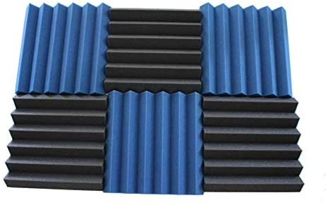 6 Pk 2x12x12 Blue & Char Soundproofing Foam Wedge Acoustic Wall Panels Tiles Studio Foam Sound Proof Padding Wedge Sound Dampening Foam Top Quality Ideal for Home & Studio Absorption Sound Insulation