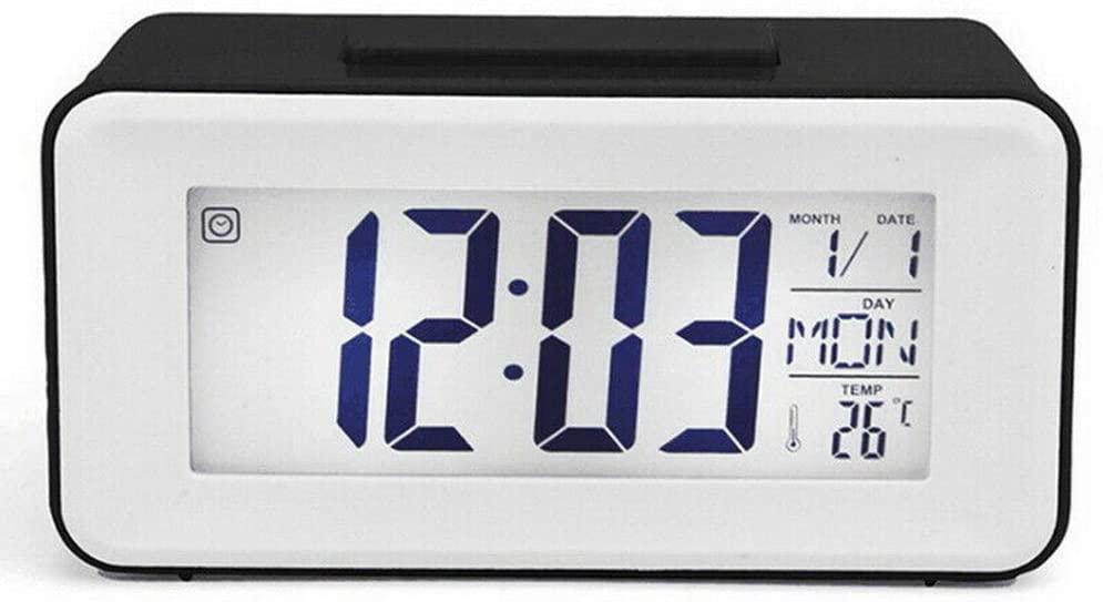 benhong Battery Operated Digital Alarm Clock LCD Display Backlight Calendar Bedside Desk for Home Use (Black)