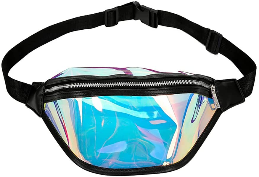 Newooh Holographic Waist Bag PVC Waterproof Waist Bag Casual Shiny Fanny Pack