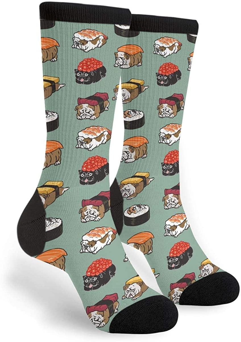 Sushi Dog Men Women Casual Socks Funny Funky Novelty Crew Tube Socks