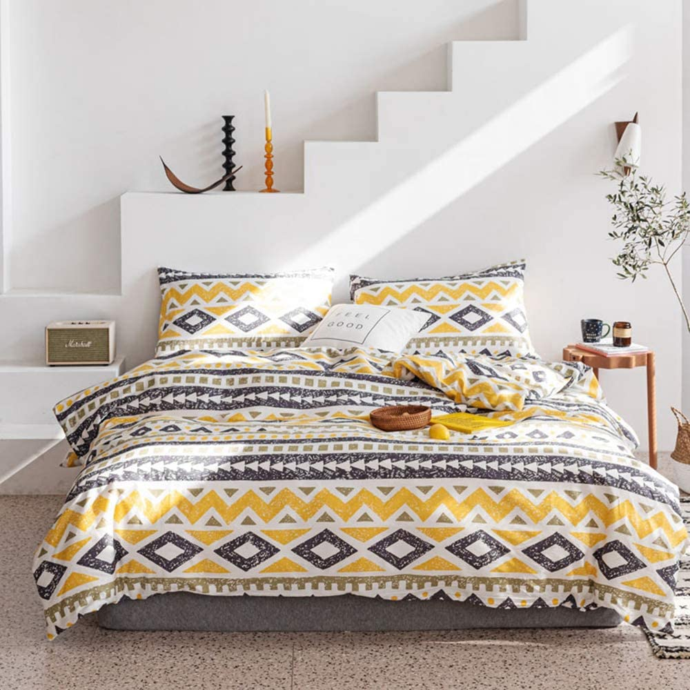 Boho Bedding Sets Queen Geometric Yellow Teens Duvet Cover Queen Premium Cotton Girls Triangle Comforter Cover Queen with 2 Pillow Shams Breathable Bedding Set Full for Kids Women Adults, No Comforter