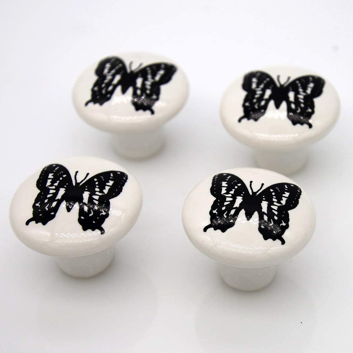 4 PCs Vintage Style Ceramic Round Knobs Handles Pulls with Butterfly Pattern for Cabinet Drawer Door