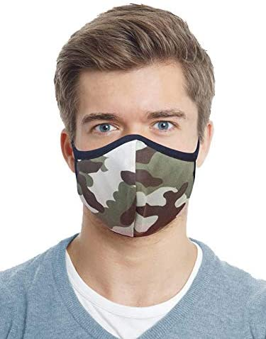 Designers Union Face Mouth Mask Dustproof Face UV Protective, Multi Layers Cover, Washable, Reusable Cotton Lite Weight Face Masks. Made in USA - (Olive Camo 3PC)