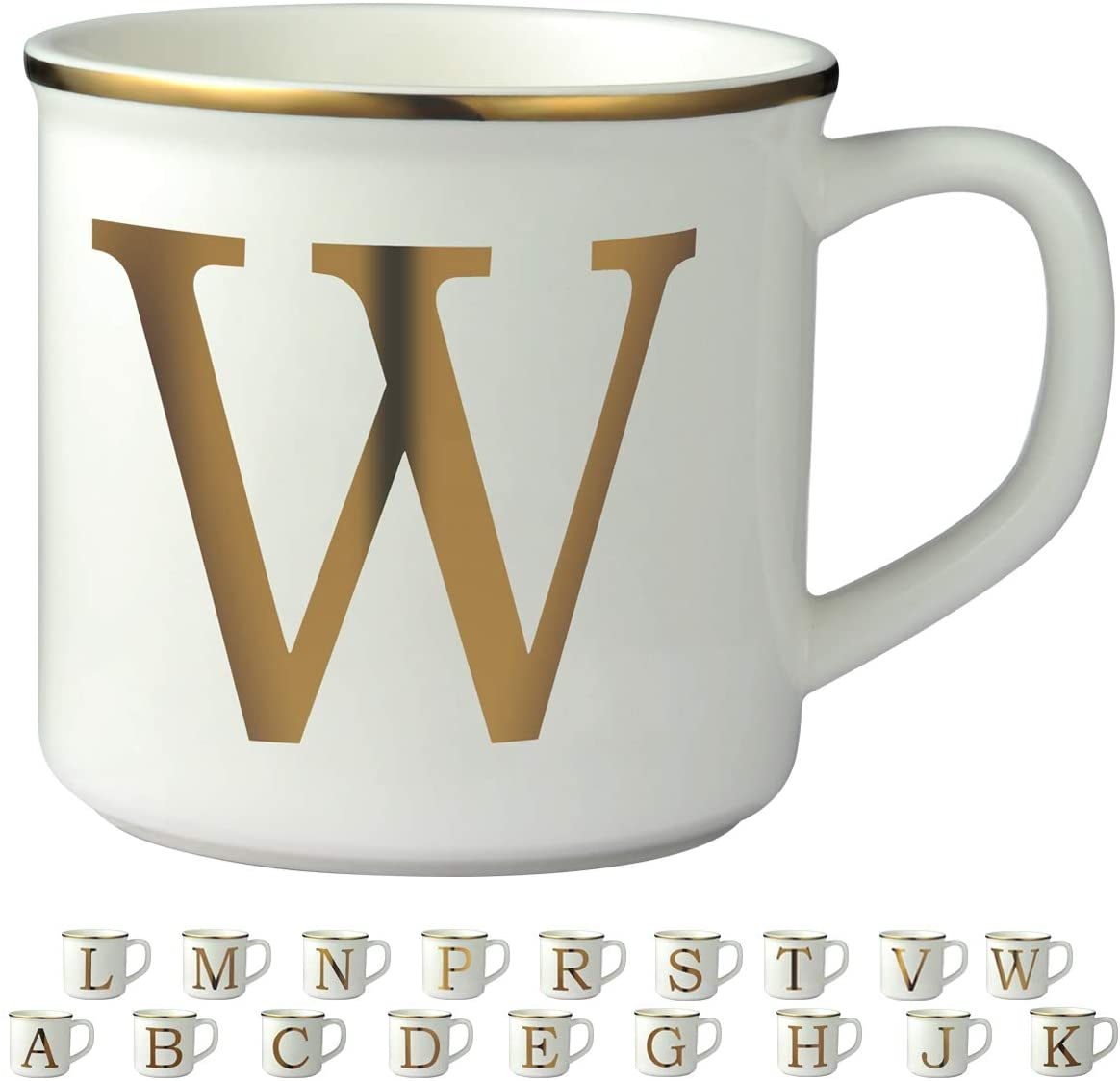 Miicol Gold Initial 16 OZ Large Ceramic Coffee Mug Tea Cup for Office and Home Use, Perfect Monogram Gifting or Collecting, Letter W, White