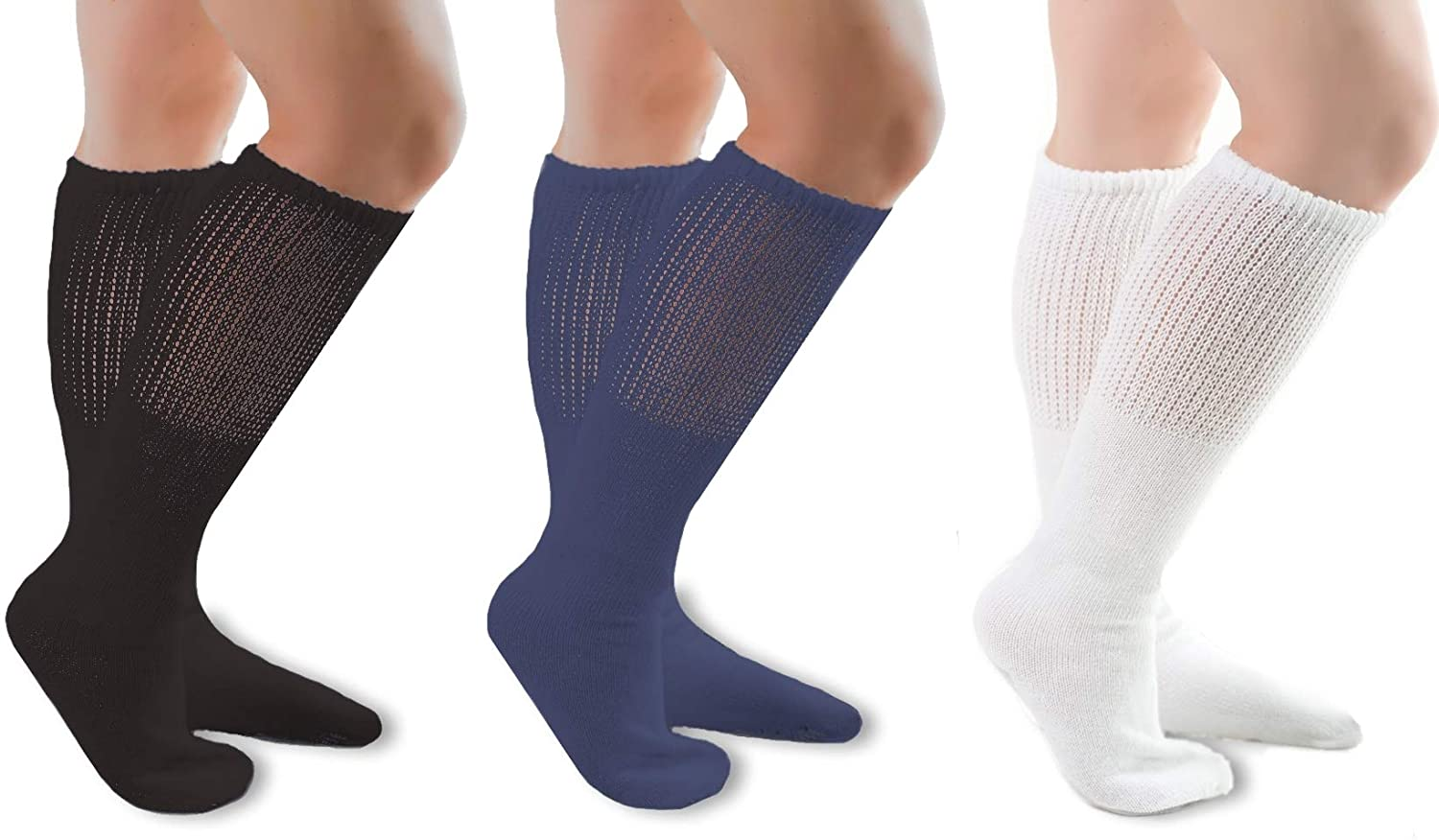 Comfort Finds Diabetic SwellSox - Breathable Cotton Socks - Loose Fitting Comfortable Sock – Non Binding Top Design – Improve Foot Circulation - Black, Navy, White - 36 Pairs
